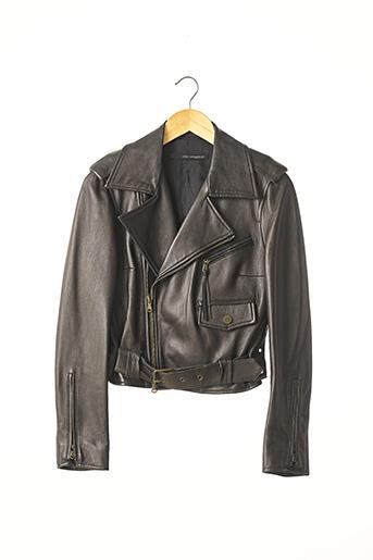 Veste en cuir noir ATOS LOMBARDINI pour femme