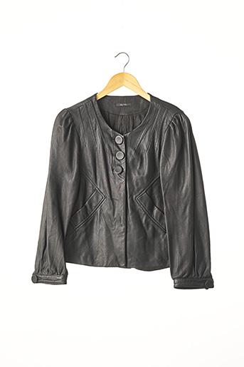 Veste en cuir noir BEL AIR pour femme
