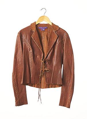 Veste en cuir marron RALPH LAUREN pour femme