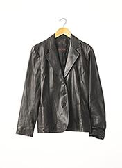 Veste en cuir noir APOSTROPHE pour femme seconde vue