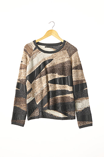 Pull col rond marron BERENICE pour femme