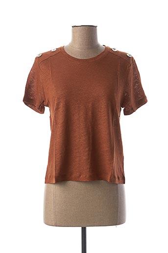 T-shirt manches courtes marron LA FEE MARABOUTEE pour femme