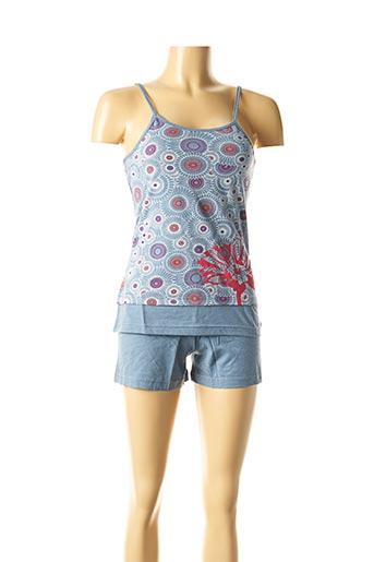 Pyjashort bleu ROSE POMME pour femme