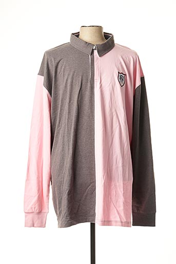 Polo manches longues rose CAMBERABERO pour homme