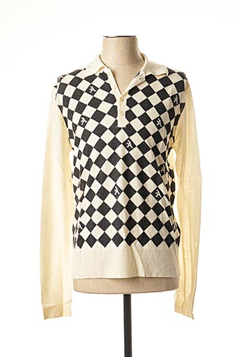 Pull col chemisier beige A-STYLE pour homme