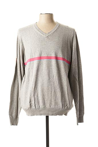 Pull col V gris TEDDY SMITH pour homme