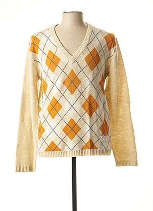 Pull col V beige RWD pour homme