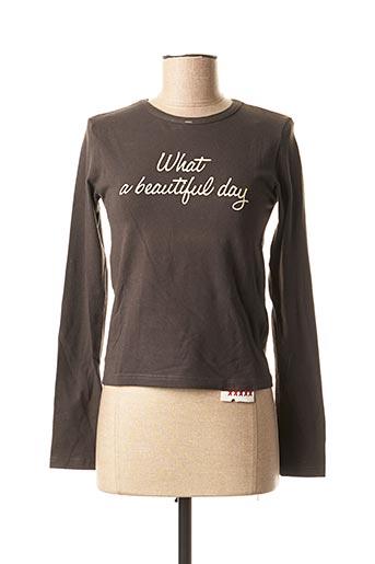 T-shirt manches longues gris SCHOOL RAG pour femme