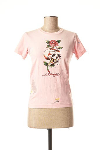 T-shirt manches courtes rose DON ED HARDY pour femme