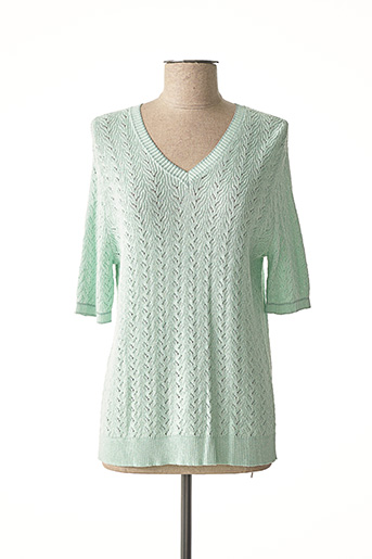 Pull col V vert EXQUISS'S pour femme