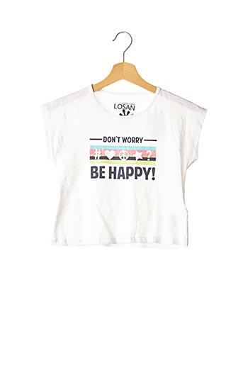 T-shirt manches courtes blanc LOSAN pour fille
