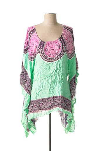 Tunique manches courtes vert BEACHWEAR pour femme