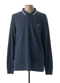 Polo manches longues bleu FRED PERRY pour homme