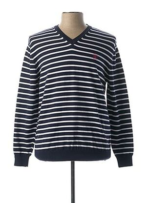 Pull col V bleu ARISTOW pour homme