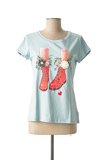 T-shirt manches courtes bleu ATTRAIT pour femme