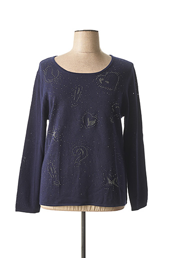 Pull col rond bleu ANAKE pour femme