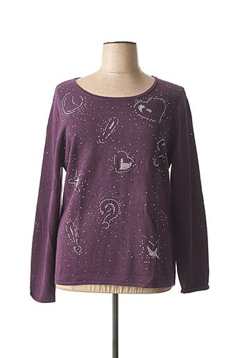Pull col rond violet ANAKE pour femme