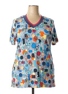 T-shirt manches courtes bleu FRANCE RIVOIRE pour femme