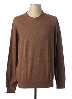 Pull col rond marron MARVELIS pour homme