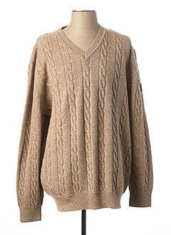 Pull col V beige MONTE CARLO pour homme