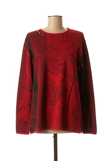 Pull col rond rouge I.ODENA pour femme