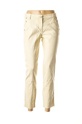 Pantalon 7/8 beige DANIELA DALLAVALLE pour femme