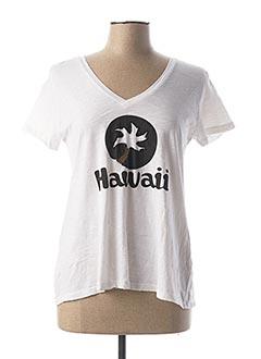 T-shirt manches courtes blanc FIVE pour femme