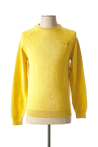 Pull col rond jaune SUPERDRY pour homme