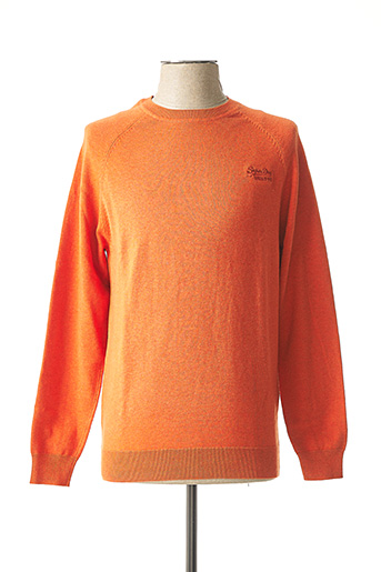 Pull col rond orange SUPERDRY pour homme