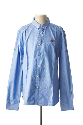 Chemise manches longues bleu SUPERDRY pour homme