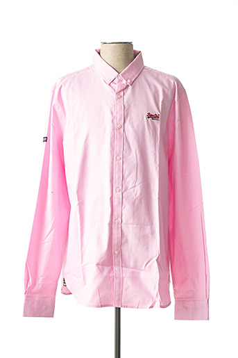 Chemise manches longues rose SUPERDRY pour homme