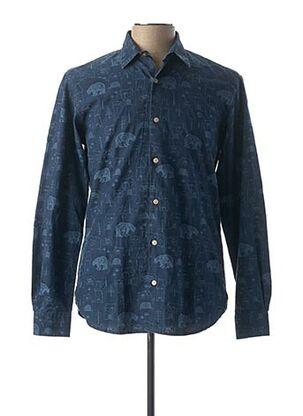 Chemise manches longues bleu SERGE BLANCO pour homme