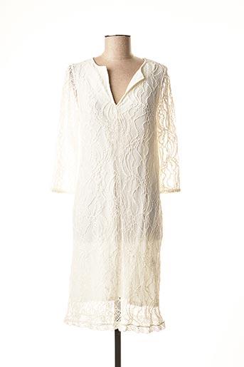 Robe mi-longue beige LAUREN VIDAL pour femme