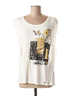 T-shirt manches courtes blanc CREAM pour femme