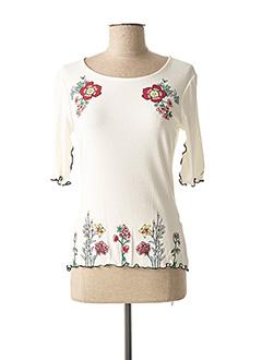 T-shirt manches longues blanc DESIGUAL pour femme