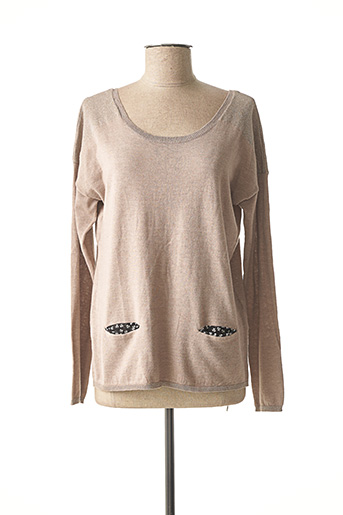 Pull col rond beige DULCEDO pour femme