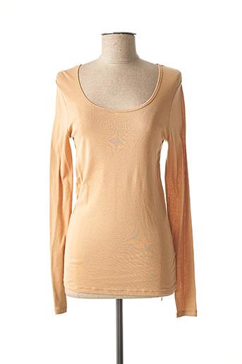 T-shirt manches longues beige PETIT BATEAU pour femme