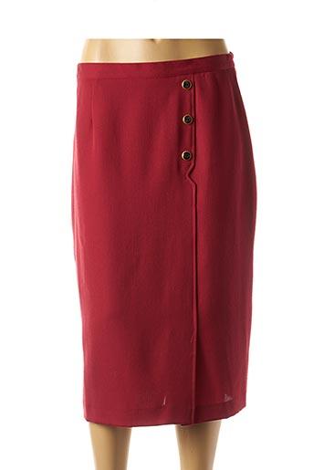 Jupe mi-longue rouge GUY DUBOUIS pour femme