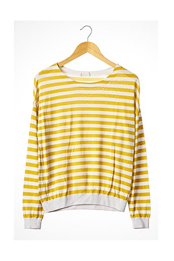 Pull col rond jaune AMERICAN VINTAGE pour femme