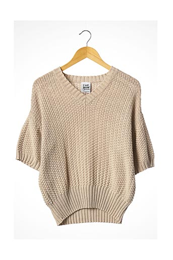 Pull col V beige ANGELO TARLAZZI pour femme