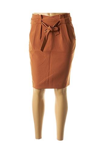 Jupe mi-longue marron ICHI pour femme