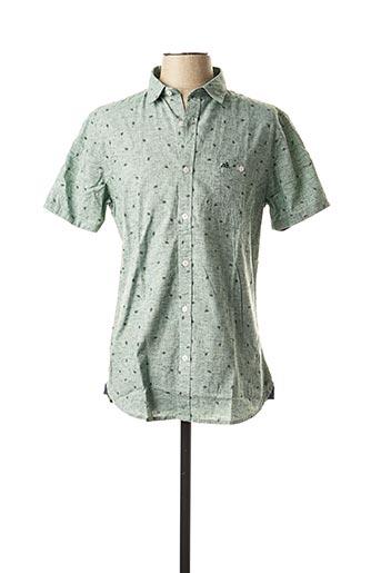 Chemise manches courtes vert TIBET pour homme