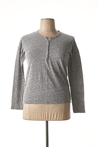 T-shirt manches longues gris CARLA KOPS pour femme