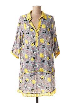 Robe mi-longue jaune POUPEE CHIC pour femme