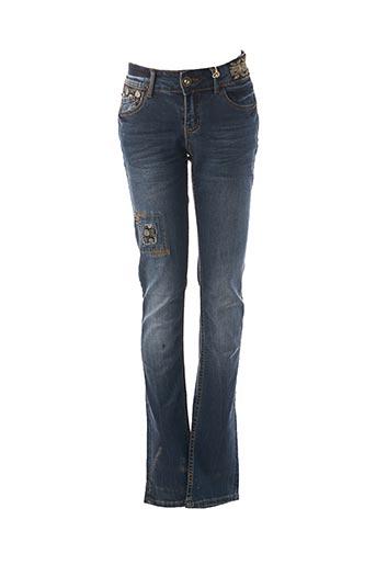 Jeans coupe slim bleu DESIGUAL pour femme