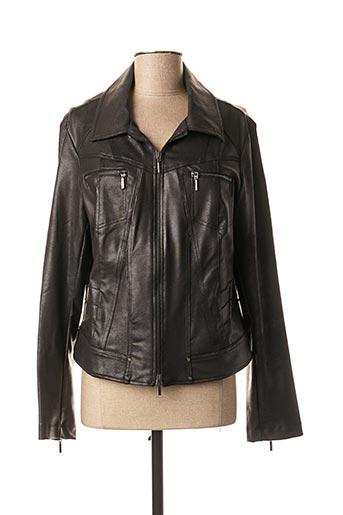 Veste simili cuir noir 3322 pour femme