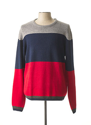 Pull col rond rouge RECYCLED ART WORLD pour homme