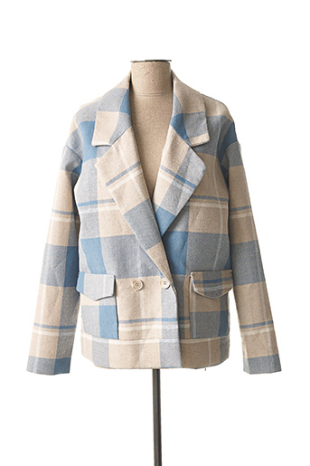 Manteau court bleu ICHI pour femme