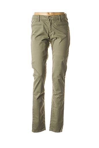 Pantalon casual vert DENIM STUDIO pour femme