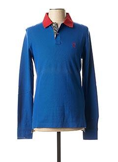 Polo manches longues bleu VICOMTE ARTHUR pour homme